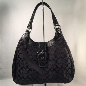 Coach Soho Lynn #17493 Black Canvas Hobo Bag